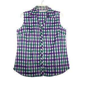 Lemon Grass Sleeveless Plaid Shirt Size M